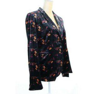 Cynthia Rowley Black Velvet Floral Blazer